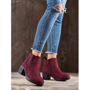 Kotníkové dámské semišové boty v bordó barvě