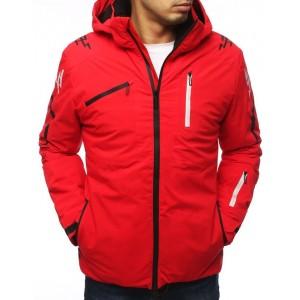 Červená lyžařská bunda s kapucí