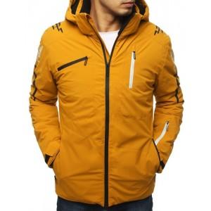 Žlutá bunda na lyžování s odnímatelnou kapucí