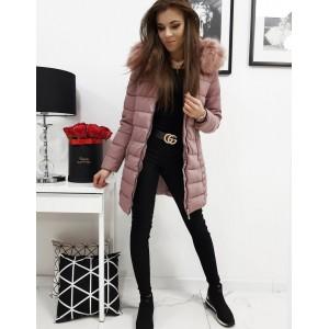 Prošívaná dámská zimní bunda s kožešinou