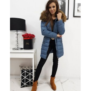 Dámská prošívaná zimní bunda s kožešinou v modré barvě