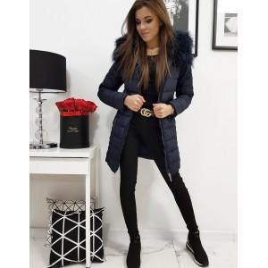 Modrá dámská zimní bunda s odnímatelnou kapucí