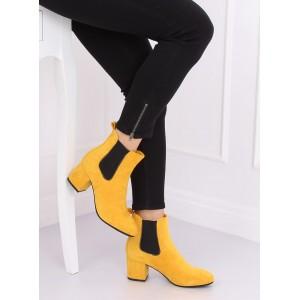 Dámské semišové kotníkové boty ve žluté barvě