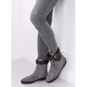 Šedé dámské gumové boty v šedé barvě