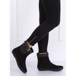 Kotníkové dámské gumové boty v černé barvě