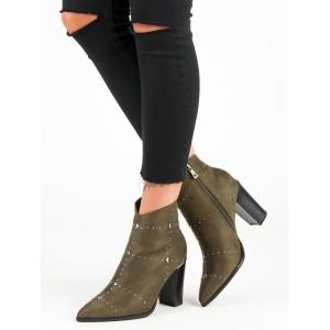 Dámské semišové kotníkové boty v zelené barvě