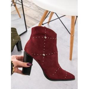 Dámské vínové boty na vysokém podpatku