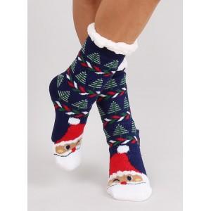 Modré vánoční protiskluzové ponožky