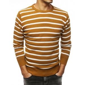Pruhovaný pánský elegantní svetr ve žluté barvě