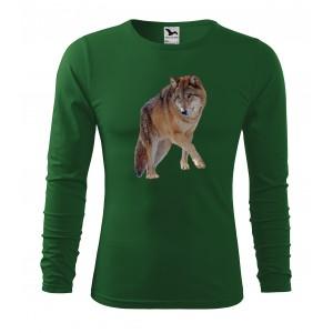 Pánské myslivecké tričko s kvalitním potiskem vlka s dlouhým rukávem