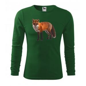 Myslivecké bavlněné tričko s potiskem lišky s dlouhým rukávem