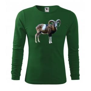 Bavlněné pánské tričko s dlouhým rukávem a potiskem muflona