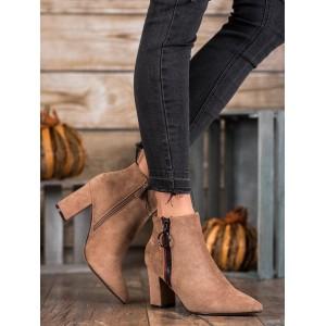 Dámské semišové boty na zimu v hnědé barvě
