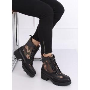 Zimní dámské boty na vázání v army motivu