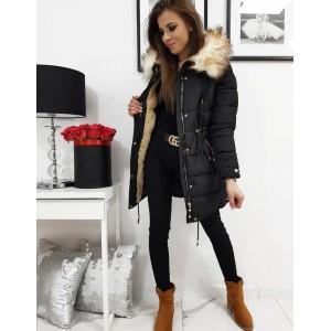 Prošívaná dámská zimní bunda v černé barvě