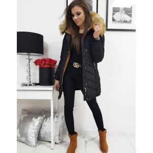 Dámská prošívaná zimní bunda v černé barvě s kapucí