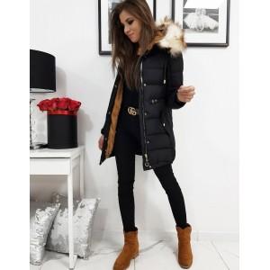 Stylová dámská zimní bunda v černé barvě s odnímatelnou kožešinou