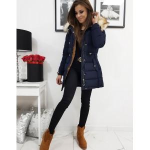 Prošívaná dámská bunda na zimu v modré barvě s kožešinou