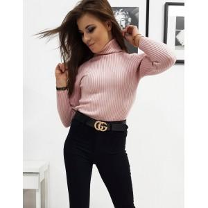 Pohodlný dámský bavlněný rolák v módní růžové barvě