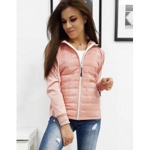 Dámská sportovní bunda s kapucí v módní růžové barvě