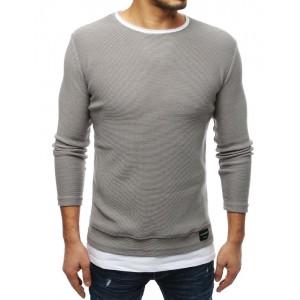 Prodloužený pánský svetr v šedé barvy