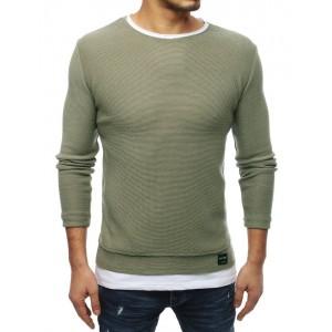 Slim pánský svetr v zelené barvě