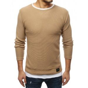 Hnědý svetr pro pány bez kapuce