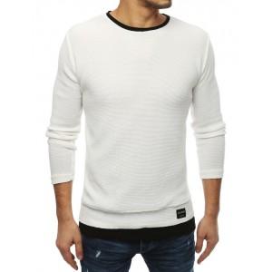 Bílý pánský svetr bez kapuce