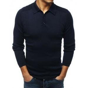Modrý pánská svetr s límcem