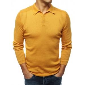 Žlutý pánský svetr s klasickým límcem