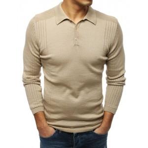 Pánský stylový béžový svetr s límcem