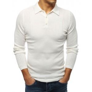 Moderní pánský svetr v bílé barvě s límcem