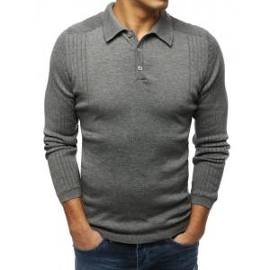 Tmavě šedý pánský svetr s límcem
