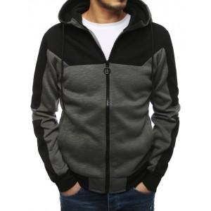 Stylová pánská mikina v šedé barvě s kapucí a zapínáním na zip