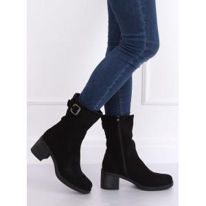 Stylové dámské kotníkové boty na zimu černé