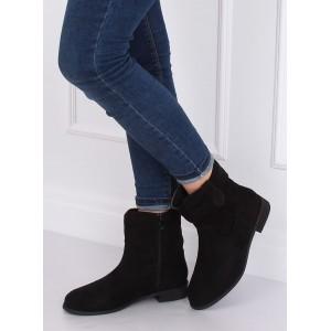 Černé kotníkové boty na zip v černé barvě