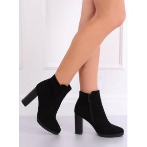 Vysoké dámské kotníkové boty v černé barvě
