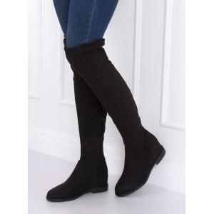 Dámské kozačky nad kolena v černé barvě