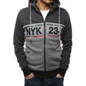 Pánská tmavě šedá mikina na zip a s kapucí v módním designu