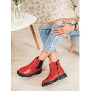 Kotníkové dámské boty na platformě v červené barvě