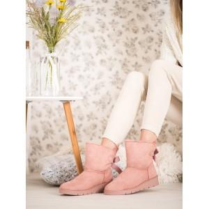 Růžové dámské sněhule na zimu v mašličkou