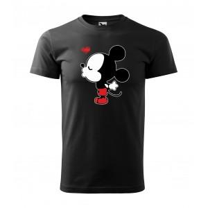 Černé valentýnské tričko s krátkým rukávem pro pány