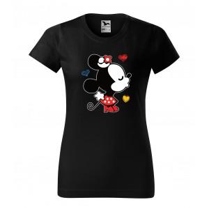Dámské triko na valentýna černé barvy