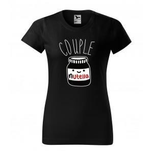 Černé dámské tričko s valentýnským motivem pro páry