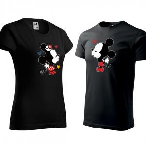 Valentýnský set triček v černé barvě mickey a minnie