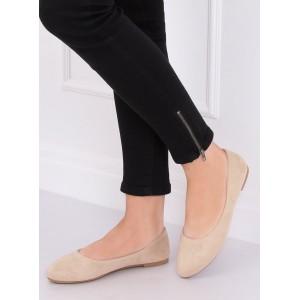 Semišové dámské balerínky v béžové barvě