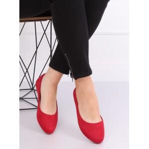 Pohodlné dámské balerínky v červené barvě
