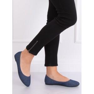 Stylové dámské semišové balerínky v modré barvě