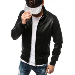 Trendová pánská kožená bunda černé barvy