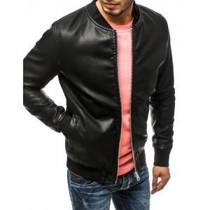 Černá pánská kožená bunda na zip bez kapuce